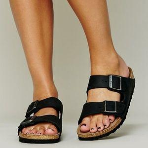 New Birkenstock Arizona Sandals Black Suede 37